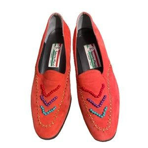 Vintage 1980's beaded suede shoes made in Italy
